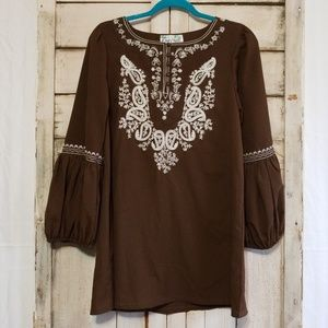 Lady Noiz Brown Puff Sleeves Tunic Small